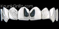 Fangs with Diamond Cut Strips Grillz Grillz