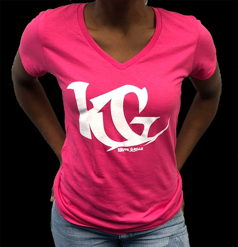 V-Neck Shirt Pink/White KG Grillz