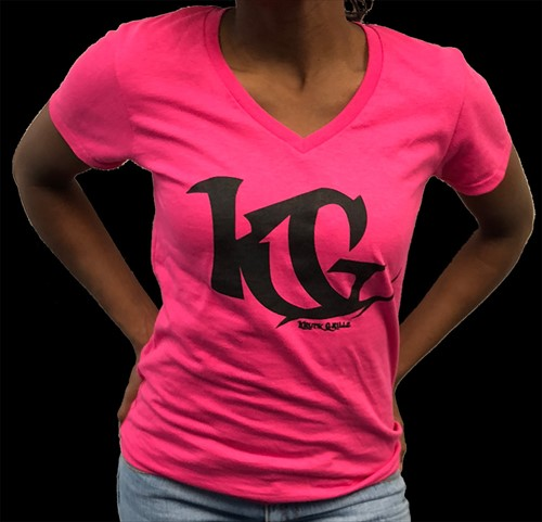 V-Neck Shirt Pink/Black KG  Grillz