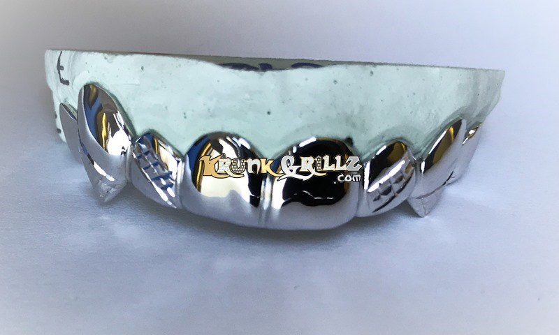Grillz Solid Golds with Band Kuts and Fangs Custom 2