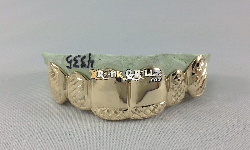 Grillz Front Polished Diamond Cut Grillz Custom 3
