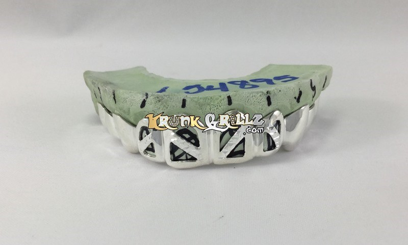 white gold open face grillz